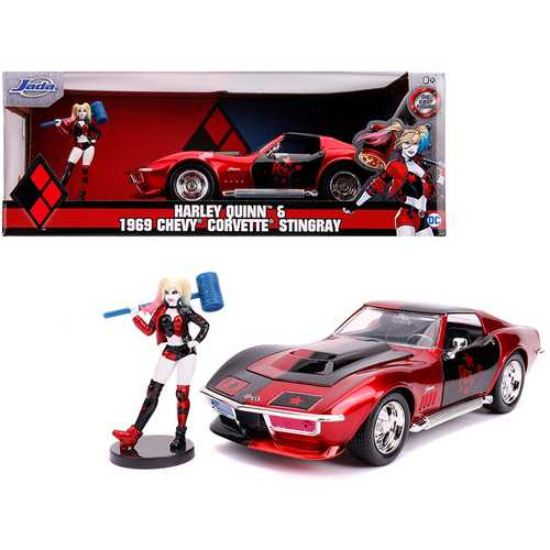 "1969 Chevrolet Corvette Stingray with Harley Quinn Diecast Figure ""DC Comics"" Series 1/24 Diecast M F977-JA31196"
