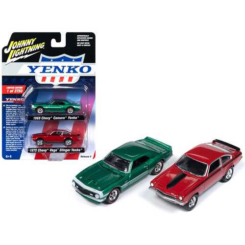1968 Chevrolet Camaro Yenko Metallic Green and 1972 Chevrolet Vega Stinger Yenko Red 2 piece Set Li F977-JLPK005-YENKO