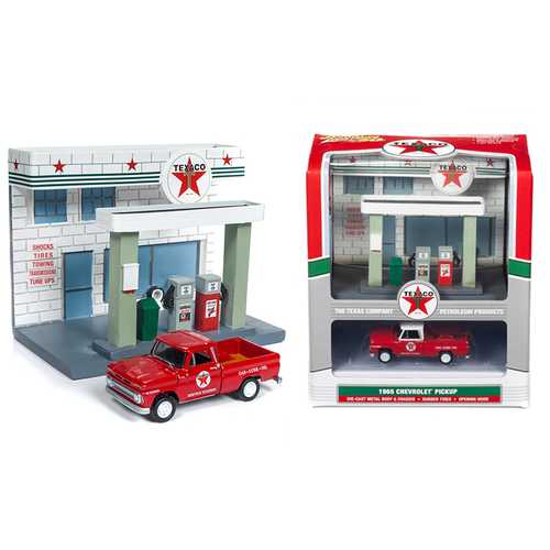 "1965 Chevrolet Pickup Truck and Resin ""Texaco"" Service Station Diorama Set 1/64 Diecast Model by Jo F977-JLSD001"