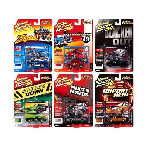 """Street Freaks"" 2019 Release 3, Set A of 6 Cars 1/64 Diecast Models by Johnny Lightning F977-JLSF014A"