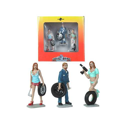 Michelle, Meg and Gary Tire Brigade 3 piece Figurine Set 1/24 by Motorhead Miniatures F977-MH775