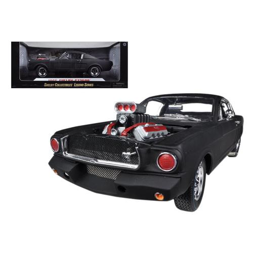 1965 Ford Shelby Mustang GT350R With Racing Engine Matt Black 1/18 Diecast Car Model by Shelby Coll F977-SC178
