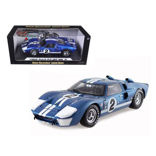 1966 Ford GT40 GT 40 Mark II #2 Blue 12 Hours of Sebring 1/18 Diecast Car Model by Shelby Collectib F977-SC401