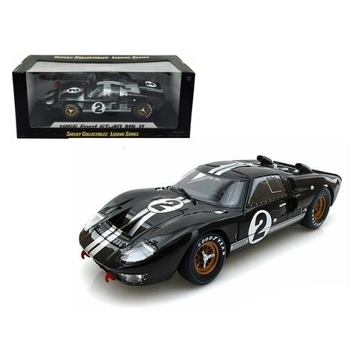 1966 Ford GT-40 MK II #2 Black 1/18 Diecast Model Car by Shelby Collectibles F977-SC408