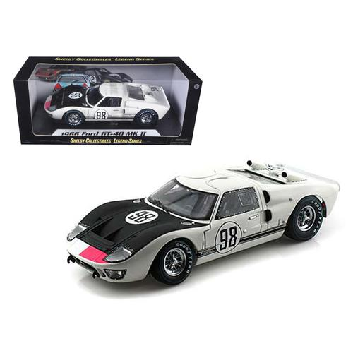 1966 Ford GT-40 MK 2 #98 White 1/18 Diecast Car Model by Shelby Collectibles F977-SC415
