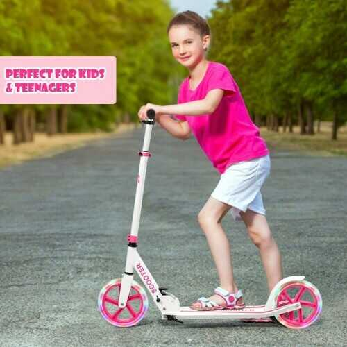 Portable Folding Sports Kick Scooter w/ LED Wheels-Pink B593-SP0571