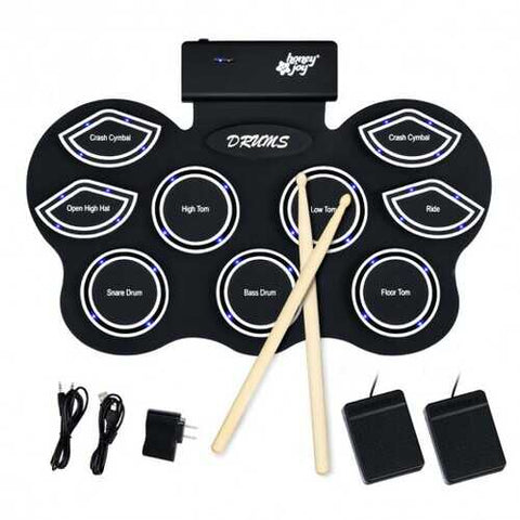 9 Pads Electronic Drum Set with LED Lights Headphone