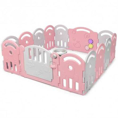 14-Panel Baby Playpen with Music Box & Basketball Hoop-Pink