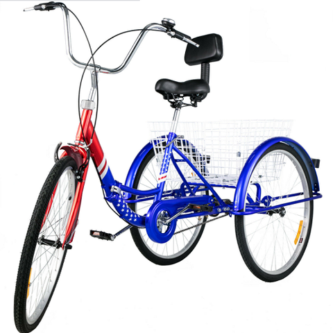 "26"" Tricycle Adult  Folding 3 Wheel Tricycle 1 Speed Aluminum Frame"
