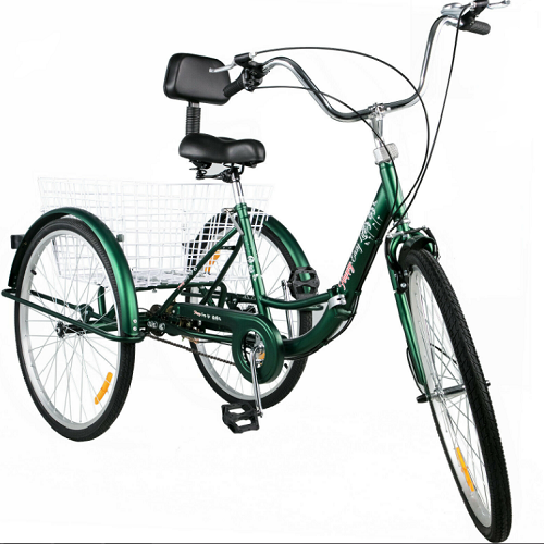 "24"" Tricycle Adult  Folding 3 Wheel Trike 3 Wheel Bike 1 Speed for Exercise/Shopping/Outing"