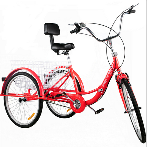 "24"" Tricycle Adult  Folding 3 Wheel Trike 3 Wheel Bike 1 Speed Rear Shopping Basket in Red/Yellow/White/Pink/Blue Color"