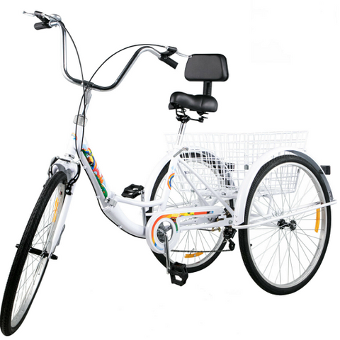 "20"" 24"" 26"" Tricycle Adult Folding 1/7 Speed 3-Wheel Tricycle with Basket for Exercise/Outing/Shopping"