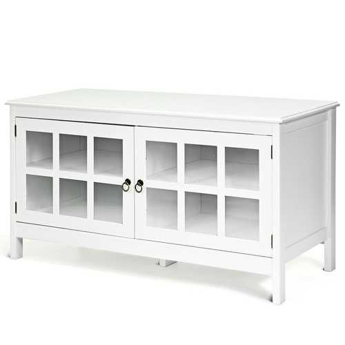 White Wood Entertainment Center TV Stand with Glass Panel Doors Q280-WHMODVTWE142868