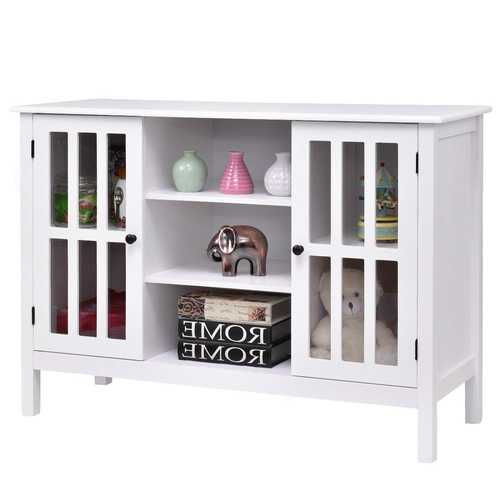 White Wood Sofa Table Console Cabinet with Tempered Glass Panel Doors Q280-WTSCA115952904