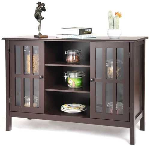 Brown Wood Sofa Tale Console Cabinet with Tempered Glass Panel Doors Q280-WTVSCT45159529