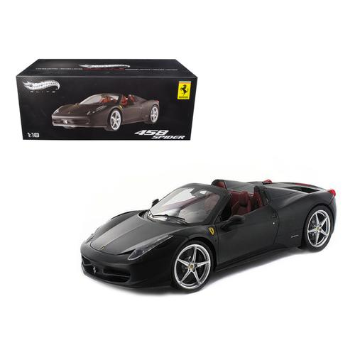 Ferrari 458 Italia Spider Matt Black Elite Edition 1/18 Diecast Car Model by Hotwheels F977-X5485
