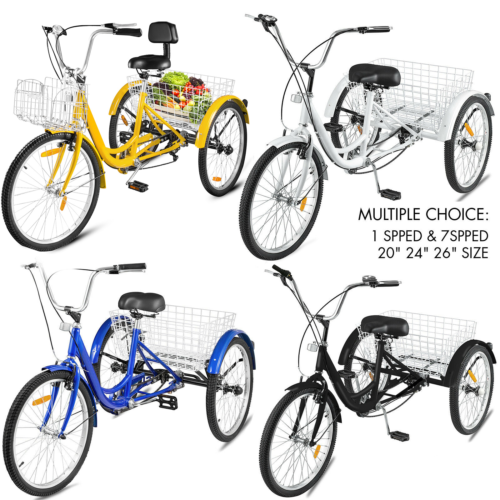 "24"" Tricycle Adult 3 Wheel Trike 3 Wheel Bike 1 Speed  Yellow/Black/Red/White/Blue"