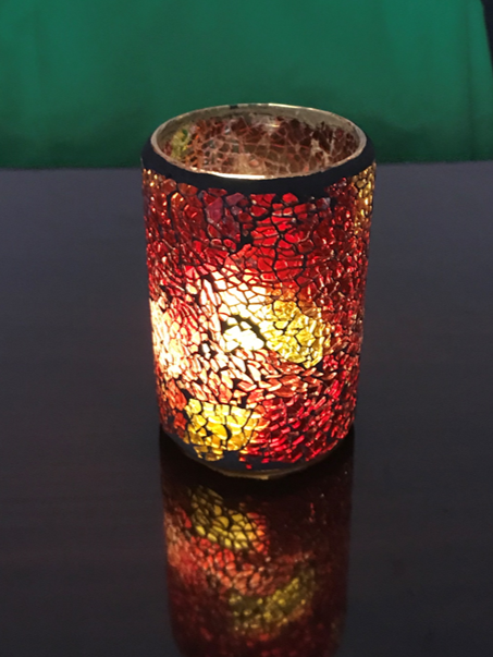 Red Crackle Cylinder Lamp 3x5 Inch