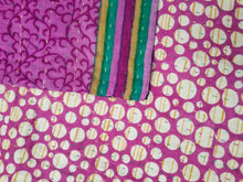 Load image into Gallery viewer, Mini traditional Bengali vintage cotton kantha quilt (magenta + teal geometric)