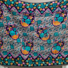 Load image into Gallery viewer, Mini traditional Bengali vintage cotton kantha quilt (magenta + navy floral)