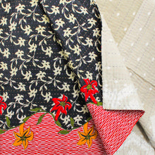 Load image into Gallery viewer, Mixed Bengali kantha: vintage cotton and luxe repurposed sari quilt (beige + red)