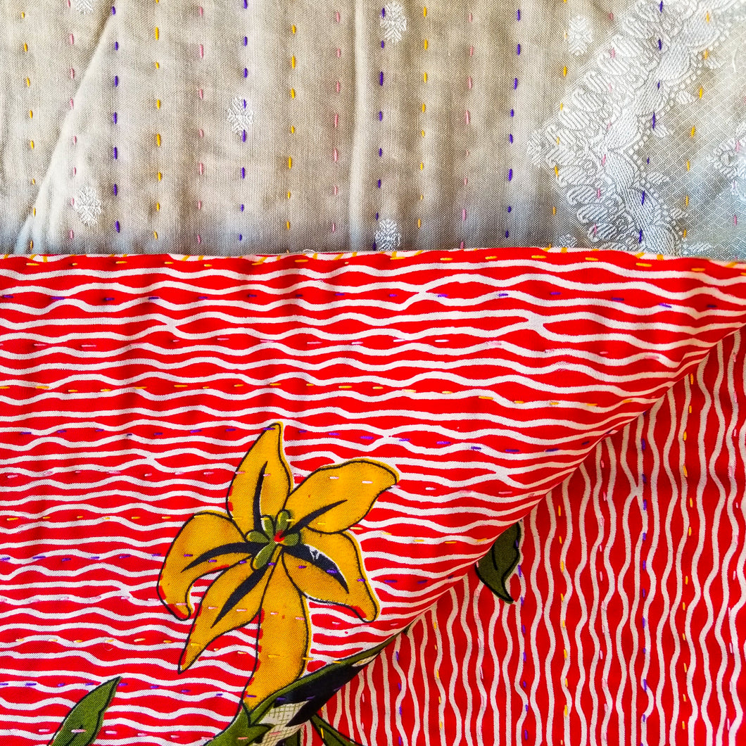 Mixed Bengali kantha: vintage cotton and luxe repurposed sari quilt (beige + red)