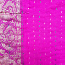 Load image into Gallery viewer, Mixed Bengali kantha: vintage cotton and luxe repurposed sari quilt (magenta + black)