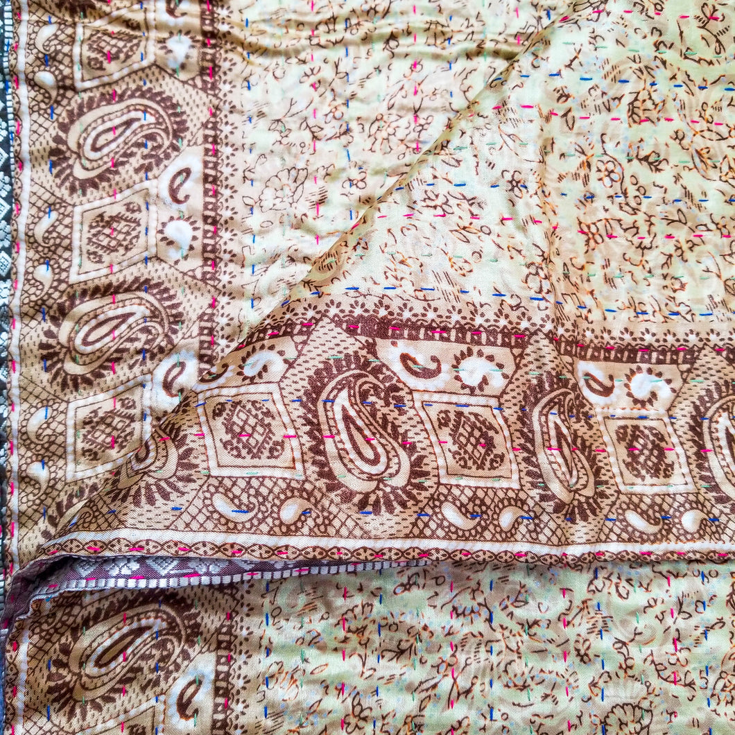Mixed Bengali kantha: vintage cotton and luxe repurposed sari quilt (beige + bronze)