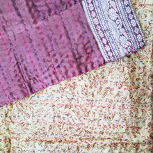 Load image into Gallery viewer, Mixed Bengali kantha: vintage cotton and luxe repurposed sari quilt (beige + bronze)