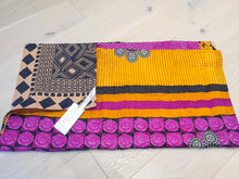 Load image into Gallery viewer, Traditional Bengali vintage cotton kantha quilt (mustard + magenta geometric)