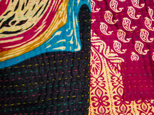 Load image into Gallery viewer, Mini traditional Bengali vintage cotton kantha quilt (magenta + navy geometric)
