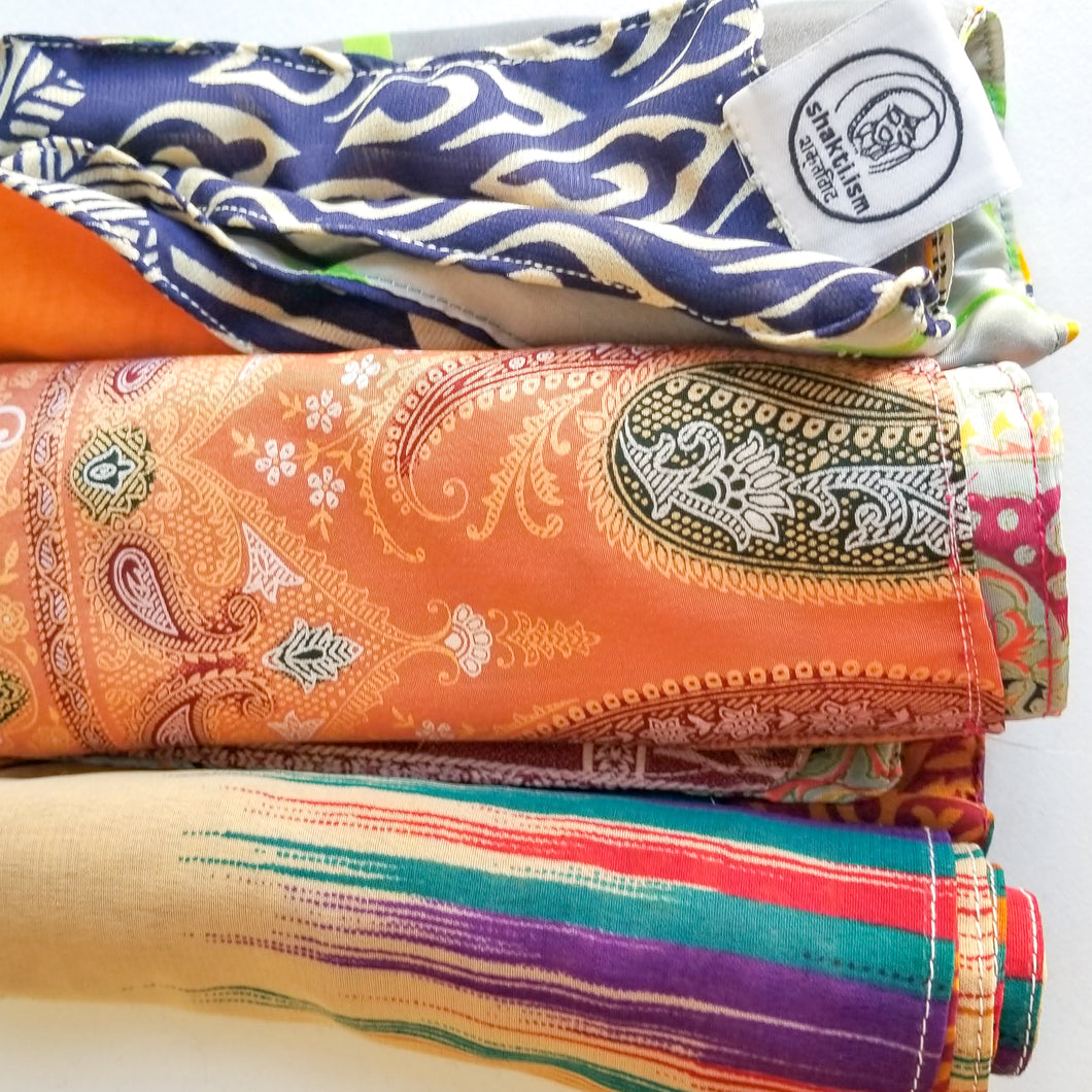 Upcycled sari gift wrap (double-sided, made from 2 complimentary saris)
