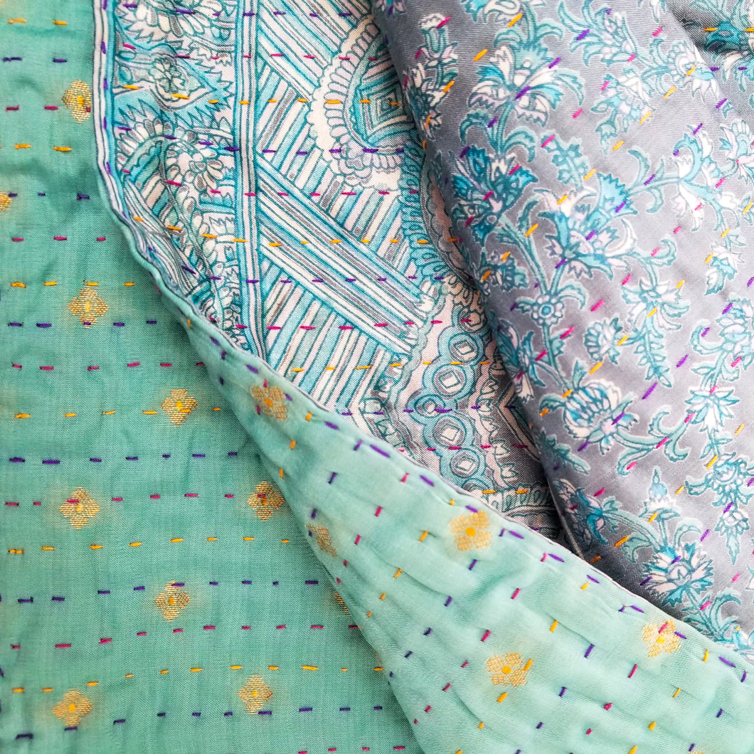 Mixed Bengali kantha: vintage cotton and luxe repurposed sari quilt (greenish-blue + grey)