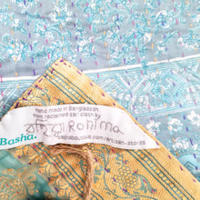 Load image into Gallery viewer, Mixed Bengali kantha: vintage cotton and luxe repurposed sari quilt (greenish-blue + grey)