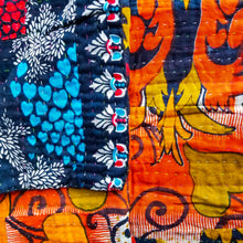 Load image into Gallery viewer, Traditional Bengali vintage cotton kantha quilt (orange + black geometric)