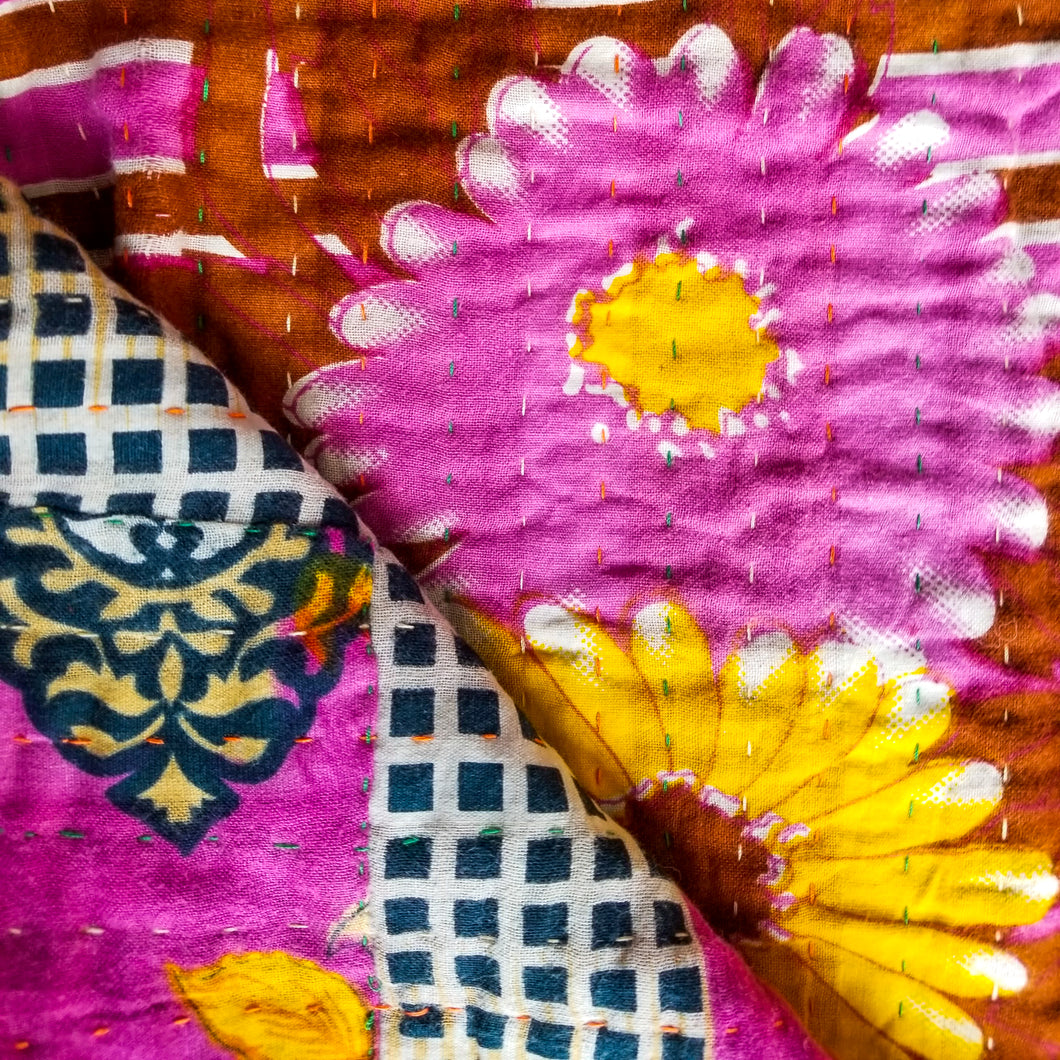 Traditional Bengali vintage cotton kantha quilt (orange + lilac geometric)
