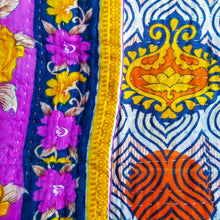 Load image into Gallery viewer, Traditional Bengali vintage cotton kantha quilt (orange + lilac geometric)