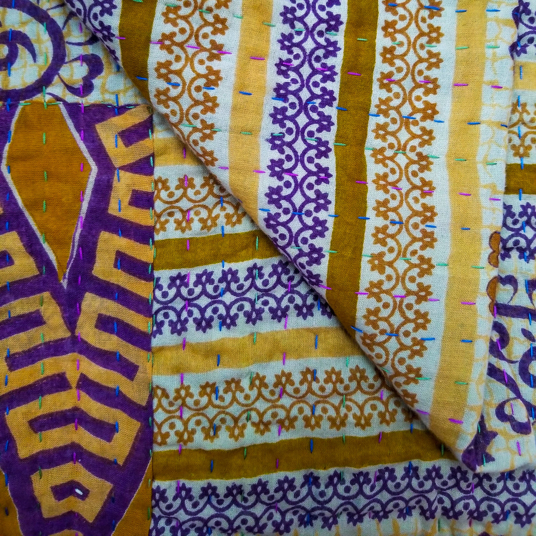 Traditional Bengali vintage cotton kantha quilt (beige + purple geometric)