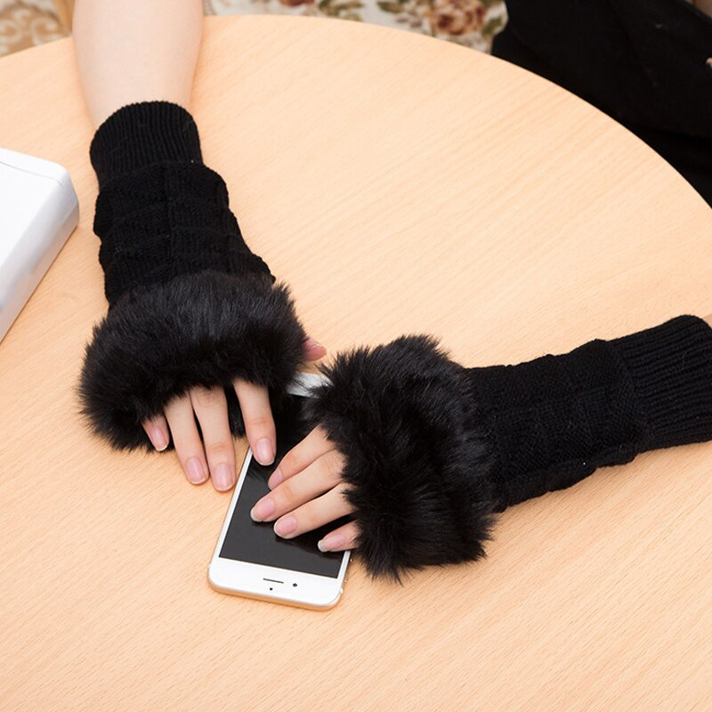 Women Girl Warm Winter Faux Rabbit Fur Wrist Fingerless Gloves Mittens New Fashion Home Office Mittens Knitted Glaves Gifts