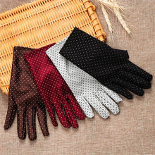 Load image into Gallery viewer, 1 Pair New Fashion Sun Protection Wrist Gloves Dot Elastic Mittens Lady Knitted Fabric Mittens For Driving Shopping Gloves