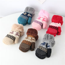 Load image into Gallery viewer, Toddler Kids Baby Boy Girl Winter Warm Christmas Deer Full Finger Windbreak Knit Gloves Mittens Unisex Thicken Christmas Gloves