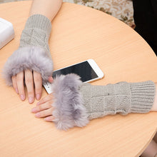 Load image into Gallery viewer, Women Girl Warm Winter Faux Rabbit Fur Wrist Fingerless Gloves Mittens New Fashion Home Office Mittens Knitted Glaves Gifts
