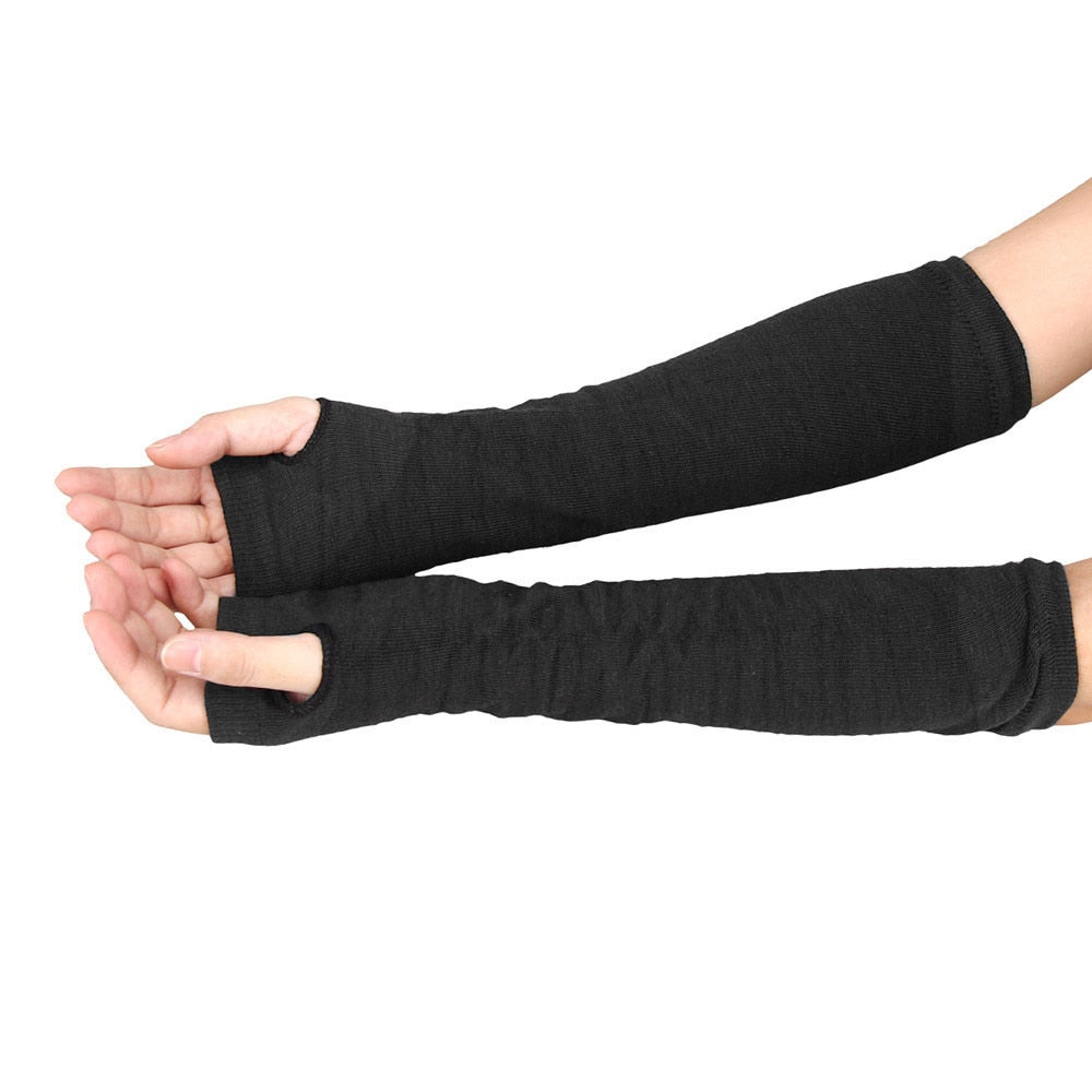 Women Arm Warmers Fingerless Long Gloves Solid Warm Knitted Mittens Protection Arm Warmer Half Finger Sleeves Black Grey Coffee