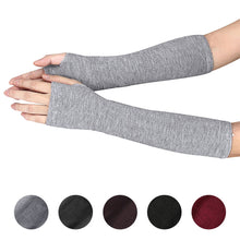 Load image into Gallery viewer, Women Arm Warmers Fingerless Long Gloves Solid Warm Knitted Mittens Protection Arm Warmer Half Finger Sleeves Black Grey Coffee