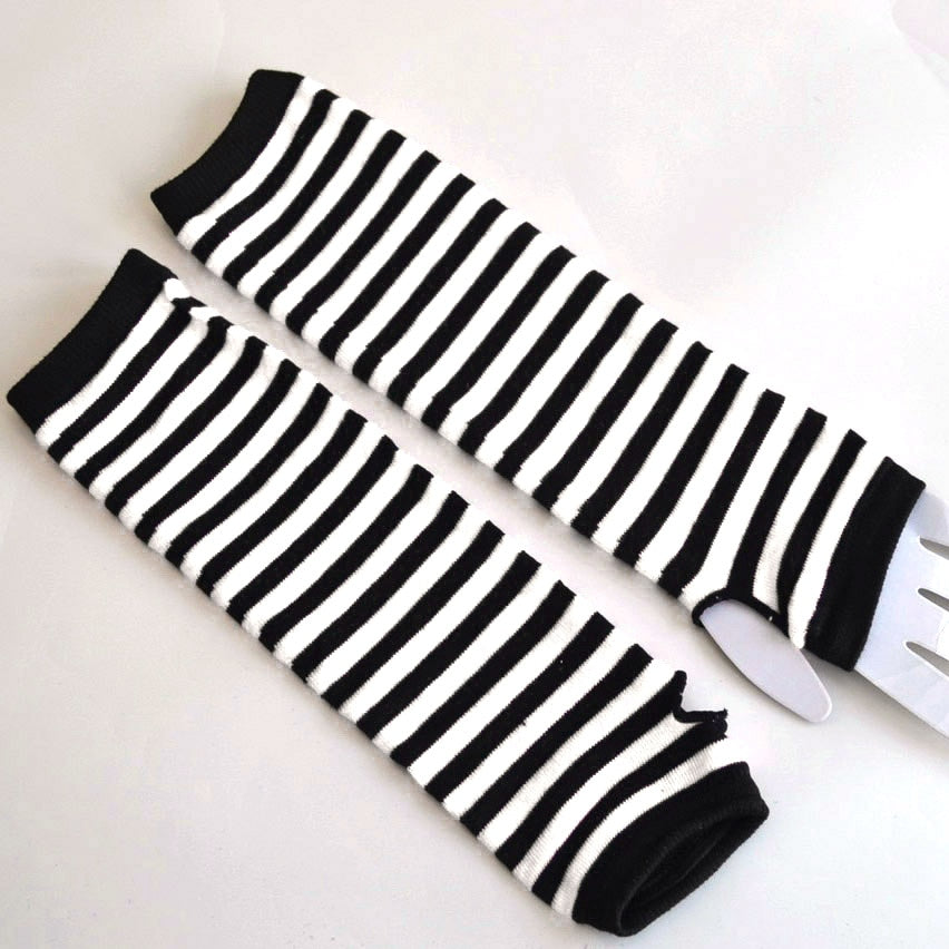Naiveroo Fashion Women Lady Striped Elbow Gloves Warmer Knitted Long Fingerless Gloves Elbow Mittens Christmas Accessories Gift