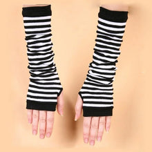 Load image into Gallery viewer, Naiveroo Fashion Women Lady Striped Elbow Gloves Warmer Knitted Long Fingerless Gloves Elbow Mittens Christmas Accessories Gift