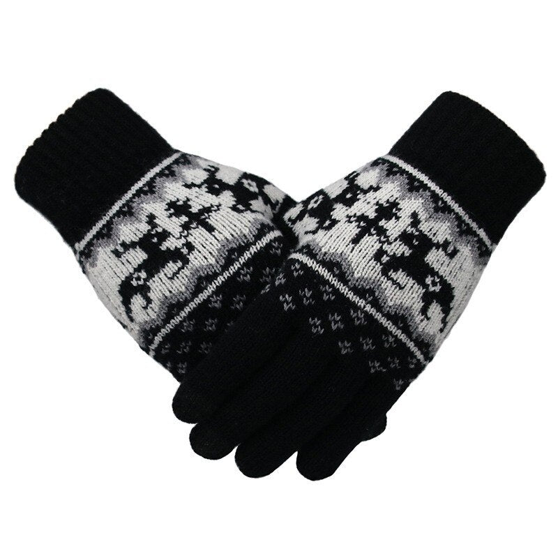 Christmas Women Winter Gloves Wool knitted gloves Keep Warm Touch Screen Gloves Geometric Pattern Cycling Riding mitten