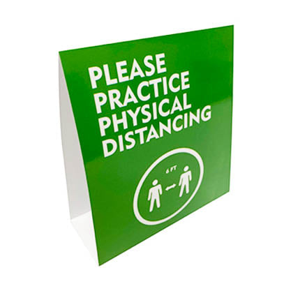 Please Practice Physical Distancing Tent Card - (5 Pack)