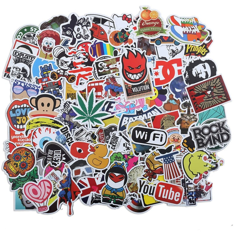 Cool Adhesive Vinyl Laptop Decals - Sticker Pack of 50 - Alpha Sticker