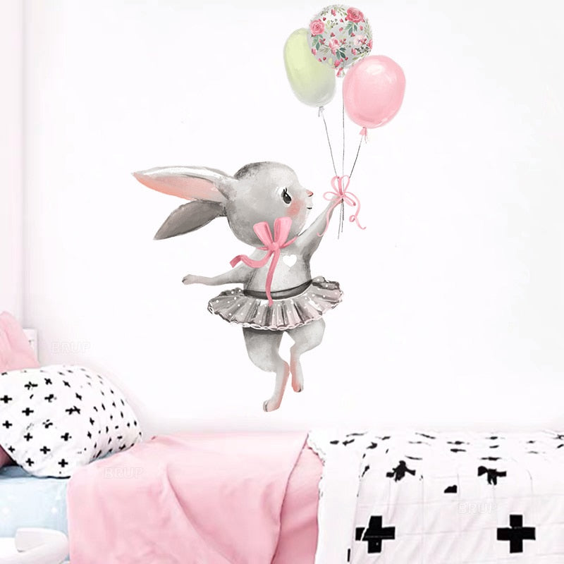 Cute Grey Bunny Ballet Rabbit Sticker - Alpha Sticker